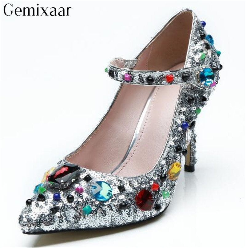 Luxe argent Bling clouté coloré diamant femmes chaussures Point Toe cheville Wrap Zapatos doux talons hauts cristal pompes femme