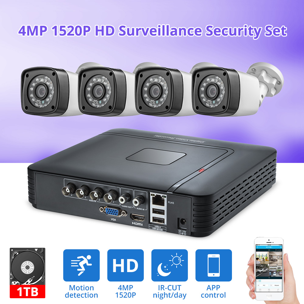 Fuers 4pcs 4MP 4CH AHD DVR CCTV Camera Security System Kit Outdoor Camera Video Surveillance System Night Vision P2P HDMI 1520P