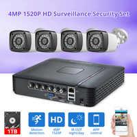Fuers 4pcs 4MP 4CH AHD DVR CCTV Camera Security System Kit Outdoor Camera Video Surveillance System Night Vision P2P HDMI 1520P