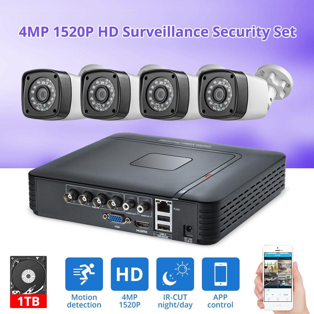 Fuers 4pcs 4MP 4CH AHD DVR CCTV Kit Sistema de Câmera de Segurança Ao Ar Livre Sistema de Vigilância de Vídeo Da Câmera de Visão Noturna P2P HDMI 1520P