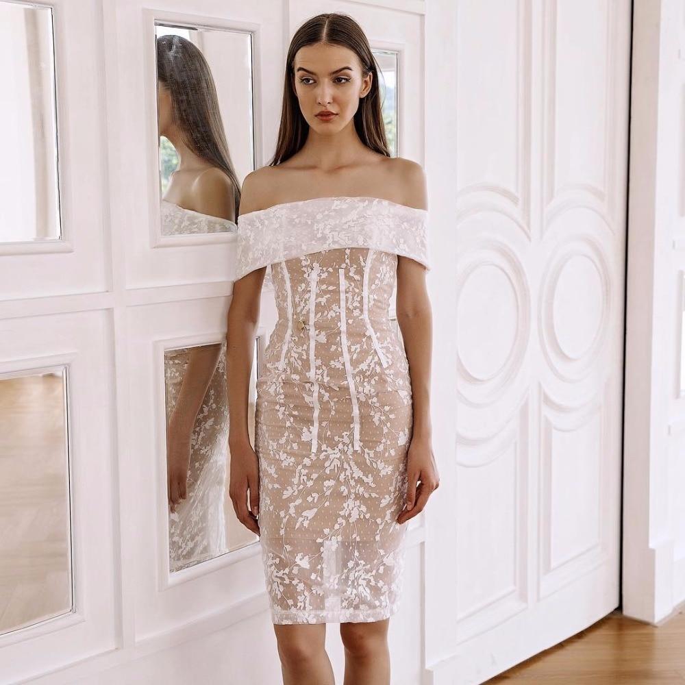 L'épaule Bandage Blanc D'été Sexy Style Dames Robe Arrivée Celebrity 2018 Party Dentelle Nouvelle De Élégante A3qRL45j