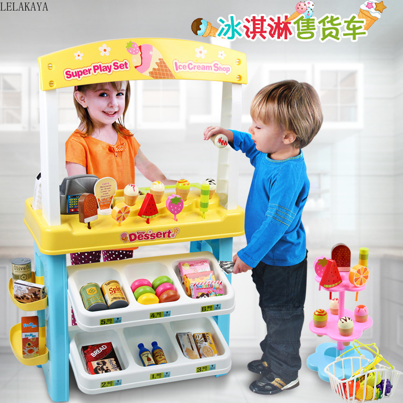 Desserts Ice Cream Shop Baby Cosplay Super Play Sets Plastic Simulation Pretend Play Furniture Toy Cash