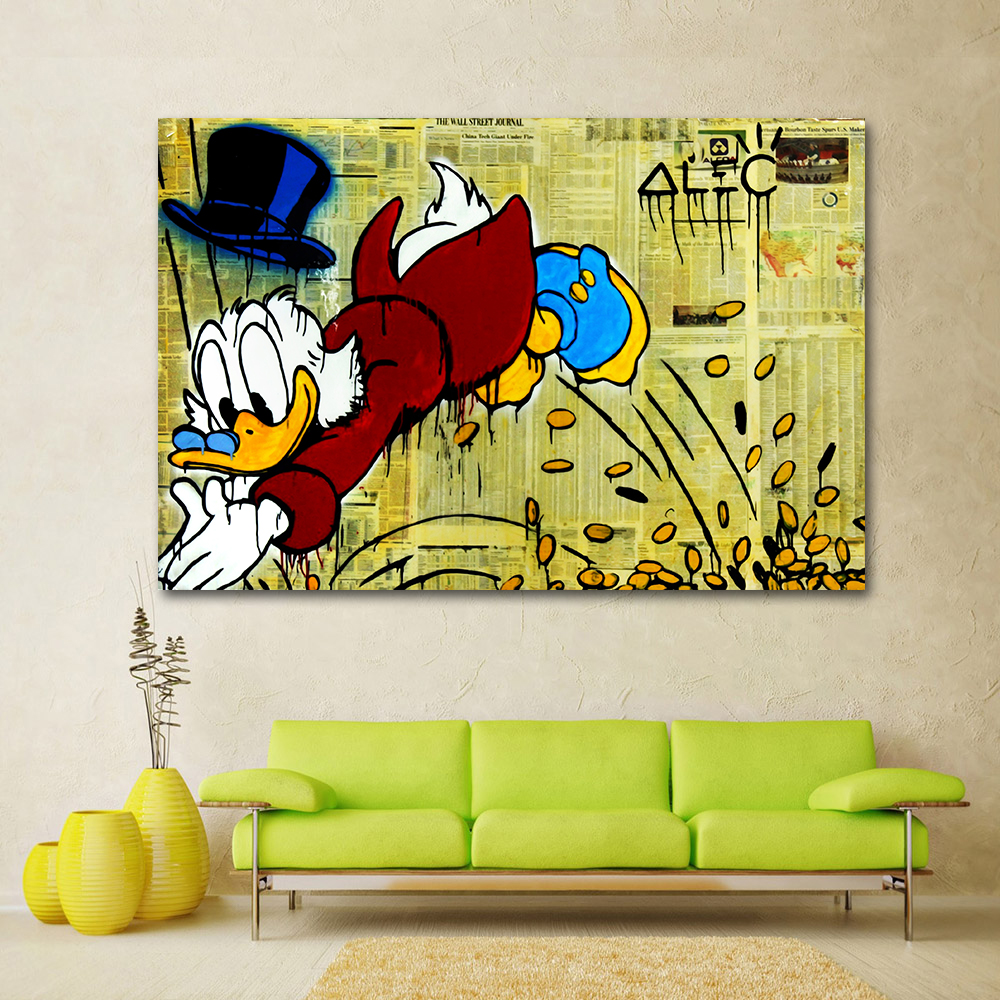 Graffiti art home decor - Hdartisan Graffiti Canvas Art Oil Painting Alec Monopoly Jumping Into Money Wall Pictures For Living Room Home Decor Frameless