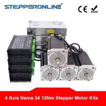 4 оси ЧПУ маршрутизатор комплект 13.0Nm(1841 oz. in) Nema 34 шаговый двигатель и драйвер