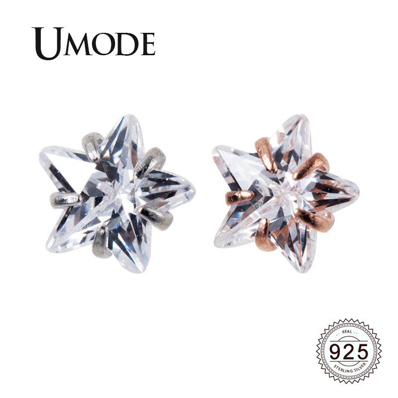 UMODE 2019 New Fashion 925 Sterling Silver Stars Stud Earring for Women Rose and White Gold Jewelry Pendientes Mujer ALE0575