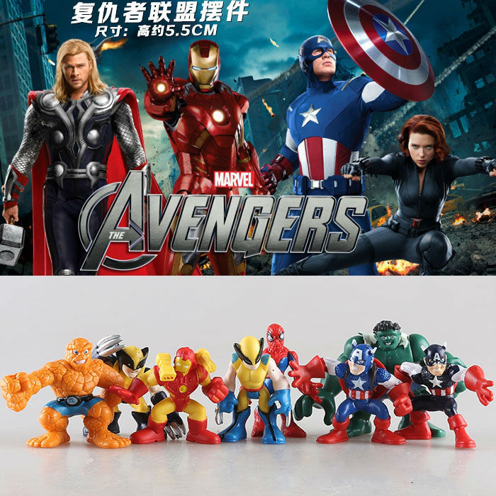 8pcs/set Marvel The Avengers Mini Iron Man Spiderman Captain America Hulk PVC Action Figure Collectible Model Toy Doll KT465  funko pop marvel the hulk no 08 red hulk no 31 iron man vinly bobble head pvc action figure collectible model toy gift for kids