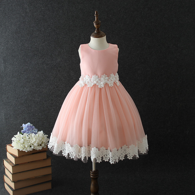 Cute Scoop Sleeveless Hand Made   Flower   Applique And Petals Beaded   Flower     Girls     Dresses   Little   Girl   Party   Dresses