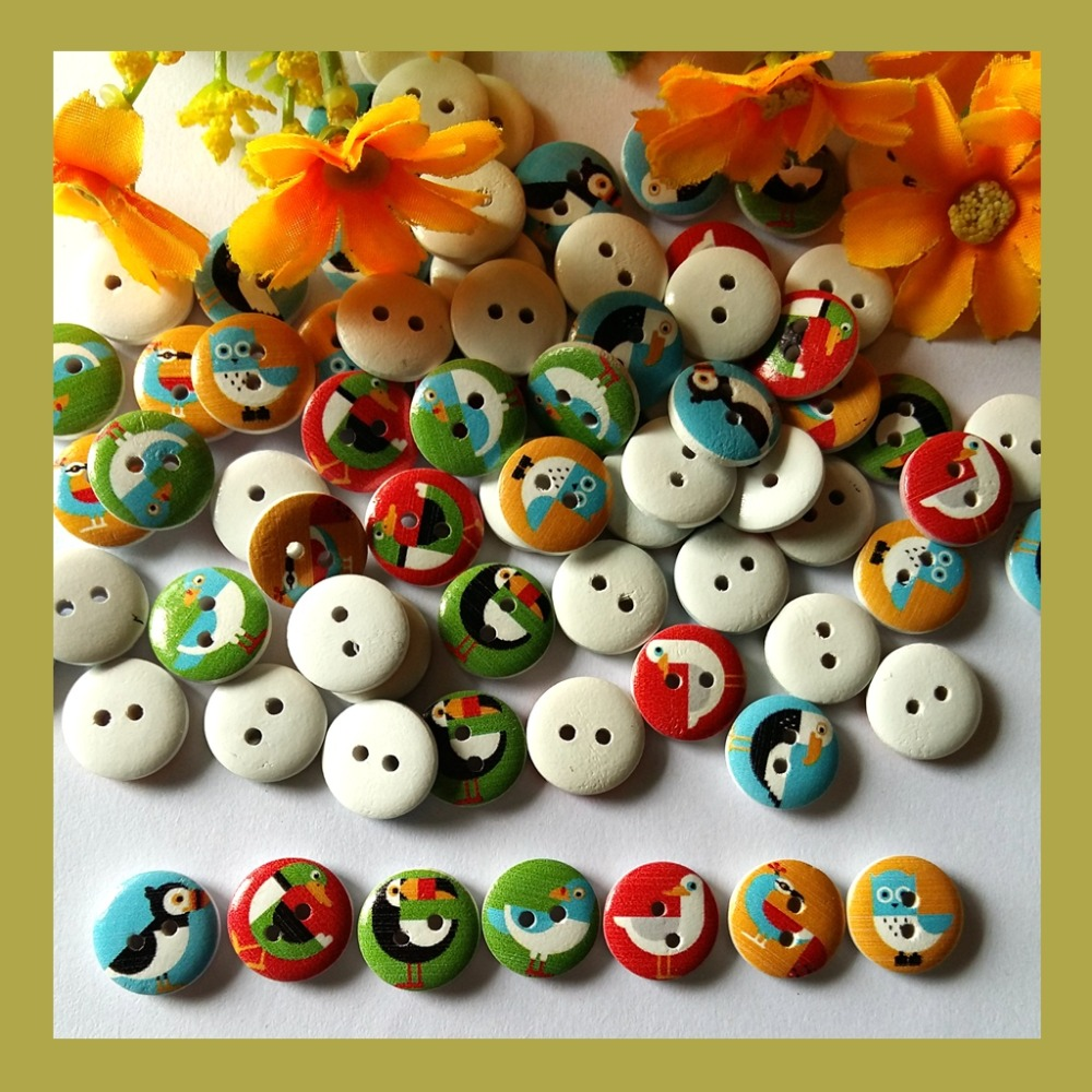 30pcs Crafts Supplies Wood Buttons 15mm Carved Home Decor Decorative Scrapbooking Accessories Supplies
