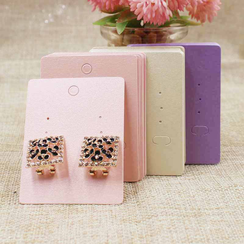 5*6.50cm Pink/beige/purple Diy Blank Stud /claw Earring Card Quality Pearl Paper Jewelry Prdoucts Display Card 200pcs Per Lot