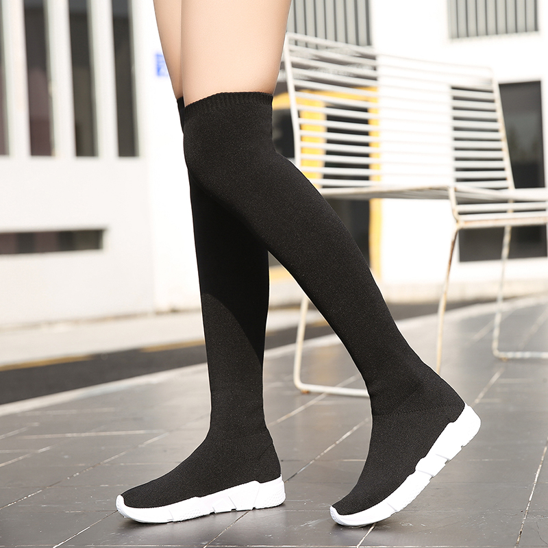 Women Sock Boots 2018 New Stretch Fabric Shoes Slip On Over the Knee Boots Women Pumps Stiletto Boots For Womens size 35-40 недорго, оригинальная цена