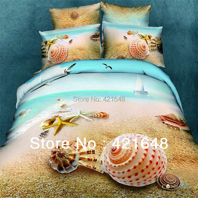 new pattern 3d oil painting beach bedding for queen size bed 4pc 3d oil