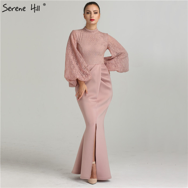 Simple Lace Long Sleeve Mermaid Evening Dress Front Split Floor ...