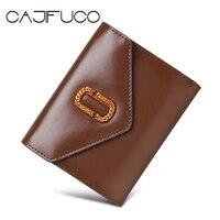 CAJIFUCO Vintage Women Short Wallet Genuine Leather Credit Card Holder Wax Paper Envelope Card Wallet Purse Portefeuille Homme