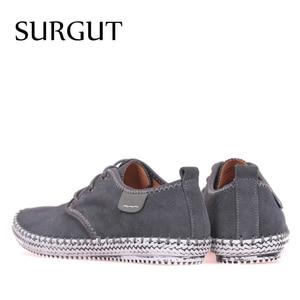 Image 2 - SURGUT Brand Minimalist Design 100% Genuine Suede Leather Mens Leisure Flat Brand Spring Formal Casual Dress Flat Oxford Shoes