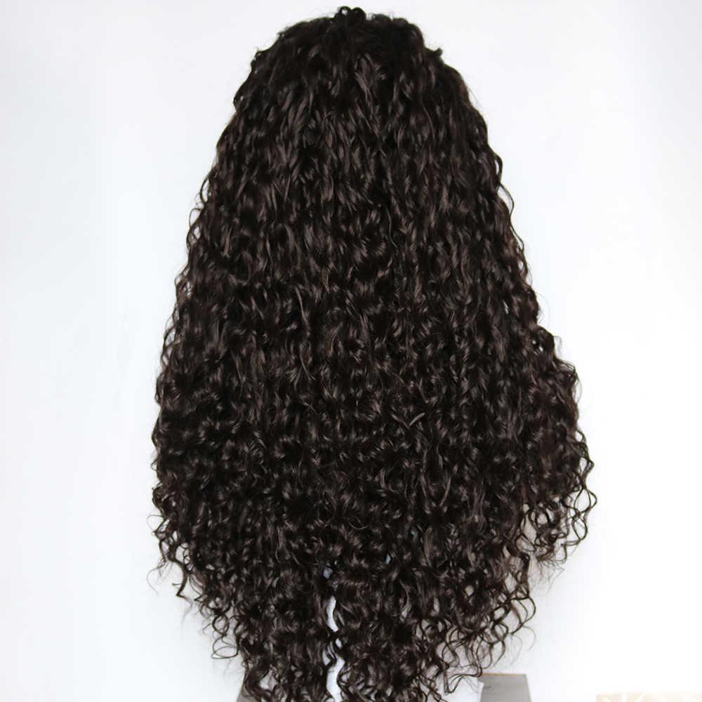 Fantezi Güzellik Siyah Su Dalgası Sentetik Dantel ön peruk Isıya Dayanıklı Gevşek Kıvırcık Yarım El Bağladılar ön peruk s Bebek Saç