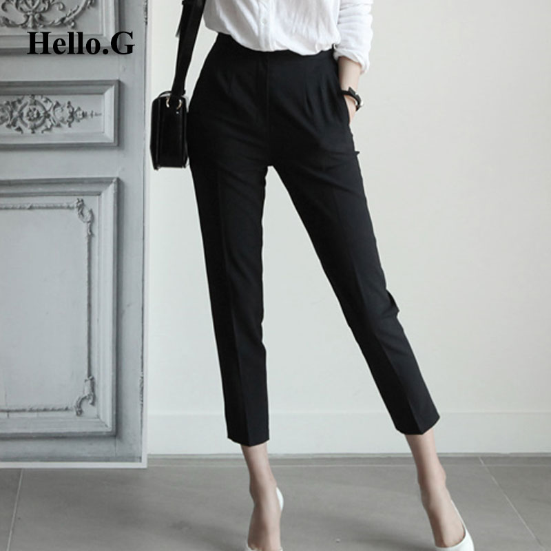 7c157be86137 Big Size Formal Pencil Pants Women Slim Pockets Zipper Black Office Wear  High Waist Summer Pant Female Trouser For Women 2016-in Pants   Capris from  Women s ...