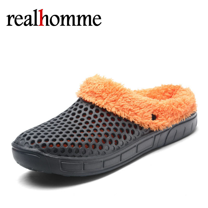 RealHomme New Winter Slippers Men Clogs Shoes Indoor Sandals Casual Men's Slippers Fur Jelly Shoes Men for Unisex Size 36-45