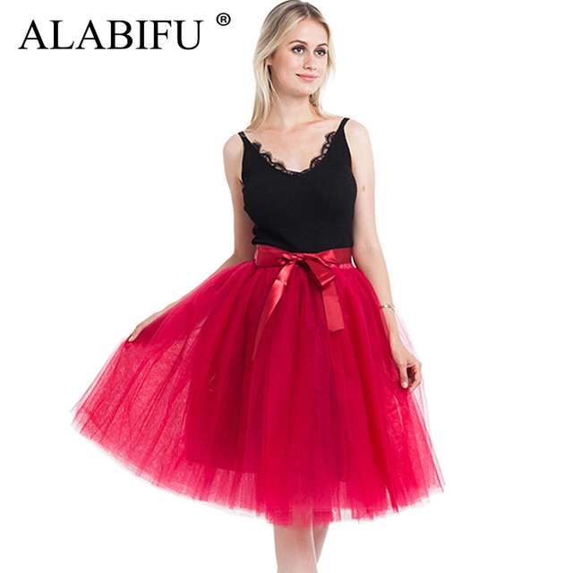 ALABIFU Elastic Waist Summer Women Skirt 2019 Casual Elegant Ball Gown Tulle Skirt Sexy Wedding Bridesmaid Party Skirt Black Red