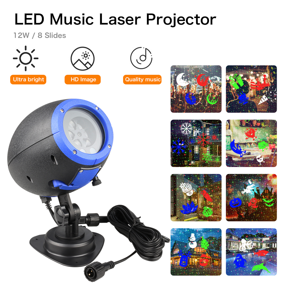 Laser Light IP65 LED Speaker Music Player Waterproof Outdoor Christmas Laser Projector Stage Light Remote Control Lawn lamp DA