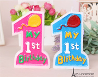 Free Shipping 1pc Retail My 1st Birthday Candles Toys Blue And Pink Cake Decoration Boys