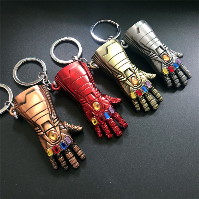 VINTAGE DULL GOLD METAL ALLOY KEY-RING IRONMAN HAND MARVEL AVENGERS