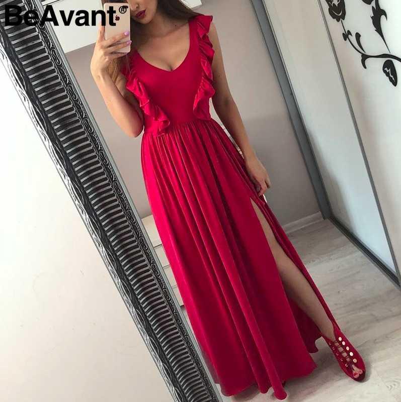 BeAvant элегантное красное женское платье с рюшами Лето 2019 без рукавов пикантное платье с разрезом длинное женское Клубное платье с v-образным вырезом рождественское vestidos