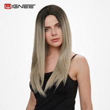 Wignee Long Straight Hair Synthetic Wig For Women High Density Temperature Ombre Blonde/Pink/Brown/Blue Natural Female Wigs