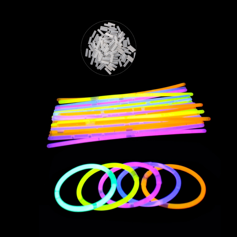 100pcs/lot Multi Color Fluorescence Light Glow Sticks Bracelets Neon Necklaces Rally RavesRamadan Festival Gift