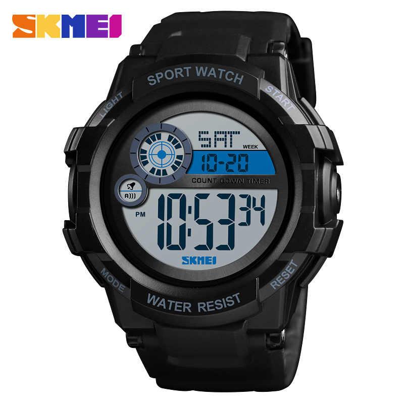 SKMEI hommes Sport montre numérique réveil 2 temps montres LED étanche affichage montre hommes montre-bracelet relógios masculino 1387