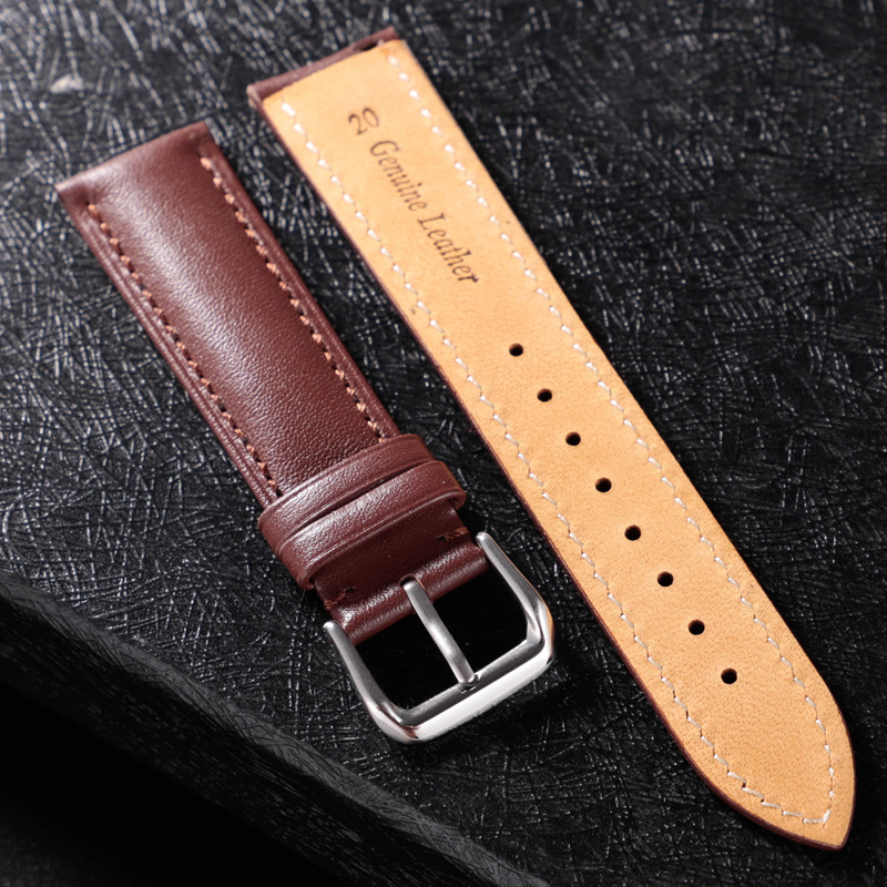 REMZEIM Leather Watchband Strap 16 / 18 / 20 / 22 / 24 MM Stainless Steel Buckle Men Women Replace Band Watch Accessories