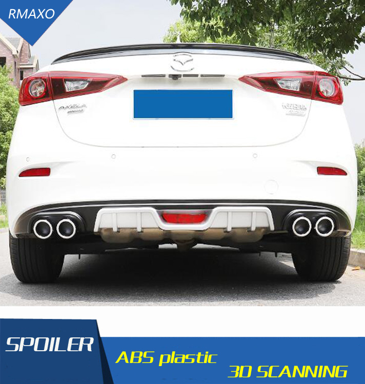 For <font><b>Mazda</b></font> <font><b>3</b></font> Axela Rear <font><b>spoiler</b></font> ABS Rear Bumper Diffuser Bumpers Protector For Axela After chrome lip rear <font><b>spoiler</b></font> <font><b>2018</b></font> image