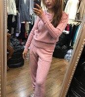 Пуловер Лидер продаж полный однотонные пончо тянуть новый вязаный костюм женский норковая бархатная V ремни ретро теплый свитер ноги брюки