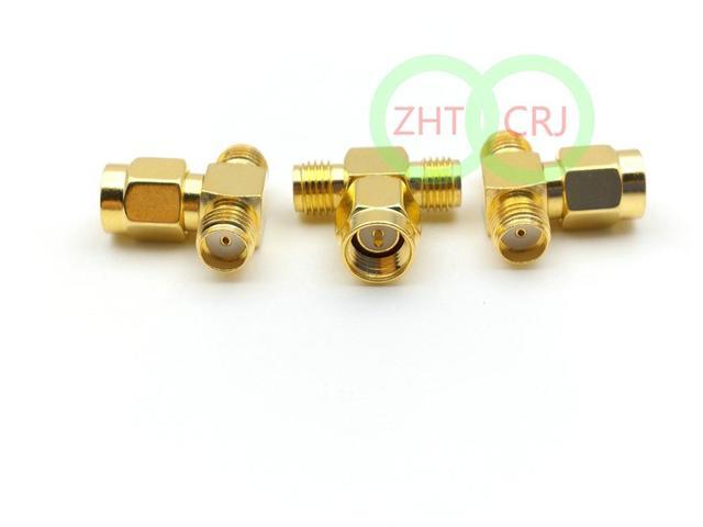 Altın SMA erkek tak 2 çift SMA dişi üçlü T adaptör konnektörü