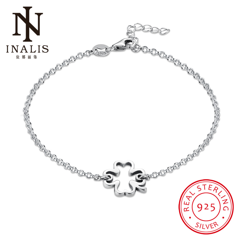 INALIS 925 Sterling Silver Bracelet Clover Small Pendant Bracelet For Women Girl Female Fine Jewelry Wedding Gift Mothers Day