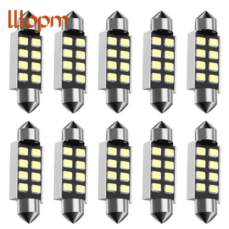 New 10pcs <font><b>LED</b></font> 36mm White CANbus C5W Bulbs 2835SMD <font><b>Interior</b></font> Lights License Plate Light For <font><b>BMW</b></font> E39 E36 E46 E90 <font><b>E60</b></font> E30 E53 E70 image