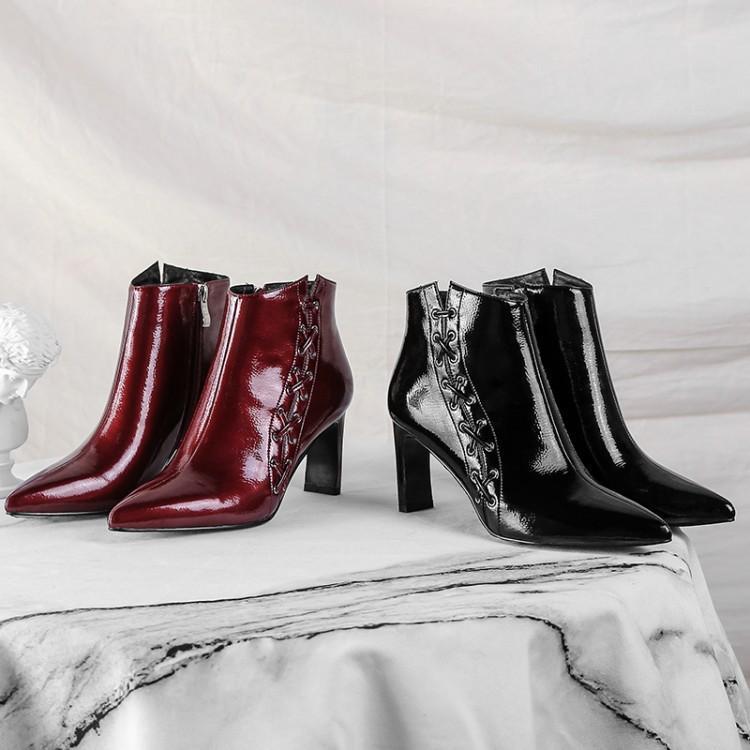 Rouge Piste Croix Chaussures Talon Femmes Élégant Noir Cheville Pour Verni Vin Cuir Côté Femme Liée vin Bout Noir Haute Bottes En Chaton Pointu gnUwdqR