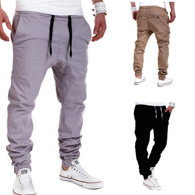 Mens Joggers 2016 Marca Pantalones Masculinos Hombres Pantalones Casuales Pantalones de Chándal Basculador Tamaño XXL de Gran Tamaño de Color Caqui Sólido 22