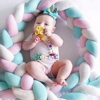 2 M/3 M de longitud recién nacido parachoques nudo Nodic largo anudado trenza almohada cama de bebé Parachoques en la cuna valla infantil para decoración de habitación de bebé