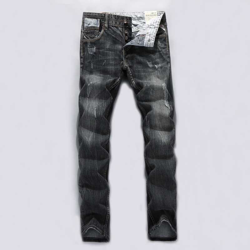 Italian Style Fashion Men Jeans High Quality Slim Fit Ripped Jeans For Men Black Gray Color Street Youth Biker Jeans Men Pants italian style fashion men jeans light blue color denim stripe ripped jeans men dsel brand street slim fit biker jeans trousers