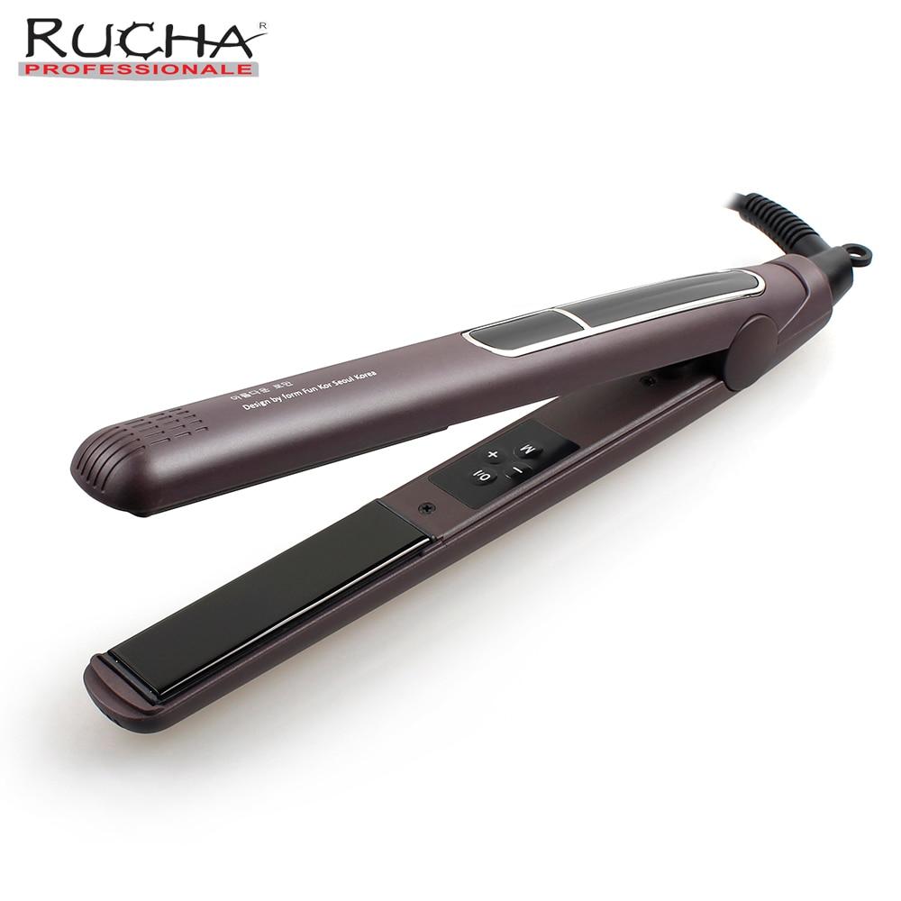 RUCHA セラミック鉄電気フラットアイアンストレートヘアアイロン 445F MCH プロフェッショナル液晶デジタル chapinha パラ cabelo 220 V  グループ上の 家電製品 からの 矯正アイアン の中 1