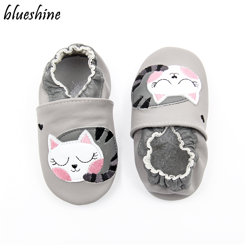 Cartoon Lazy Cat Soft Leather Baby Boys Infant Shoes Slippers 0-6 6-12 12-18M Toddler Girls Zapatos Crib Shoes First Walkers image