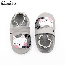 Cartoon Lazy Cat Soft Leather Baby Boys Infant Shoes Slippers 0-6 6-12 12-18M Toddler Girls Zapatos Crib Shoes First Walkers(China)