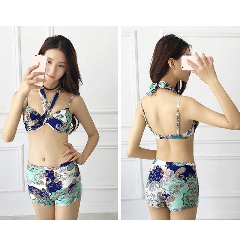Swimsuit female three-piece set cover belly  bikini blouse large size bikini hot spring Korean style small fresh bikini inc new beige leopard print 2 piece set women s size small s henley blouse $79