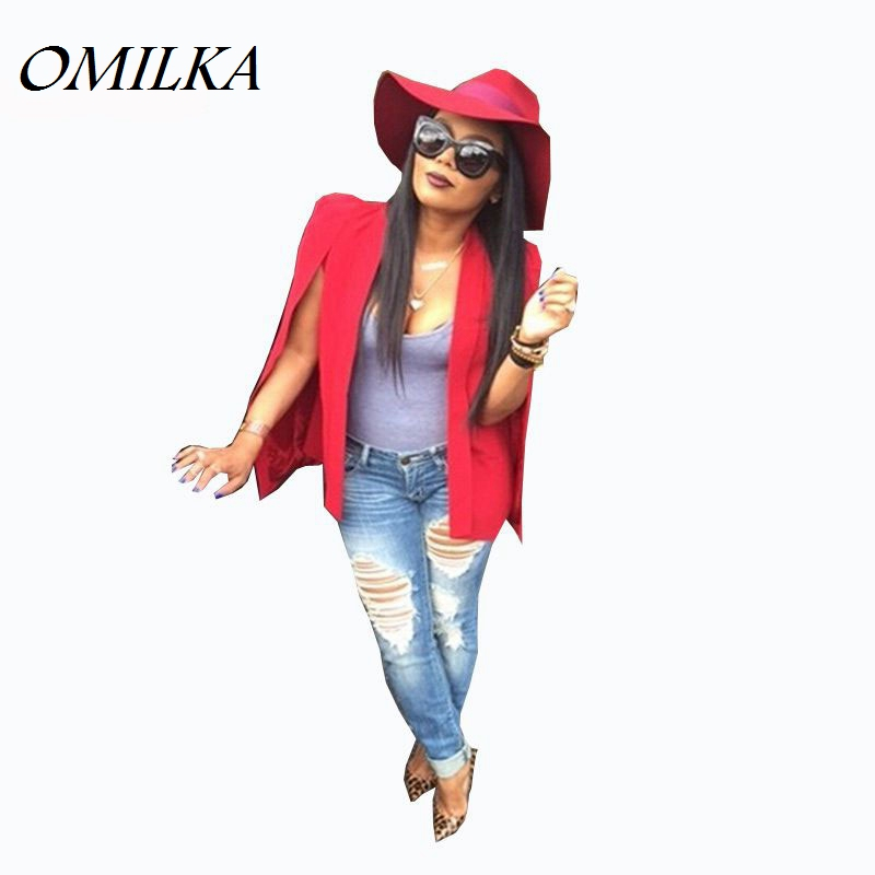 omilka veste blazer femme 2017 women red cape blazer fashion long sleeve bomber jacket women. Black Bedroom Furniture Sets. Home Design Ideas