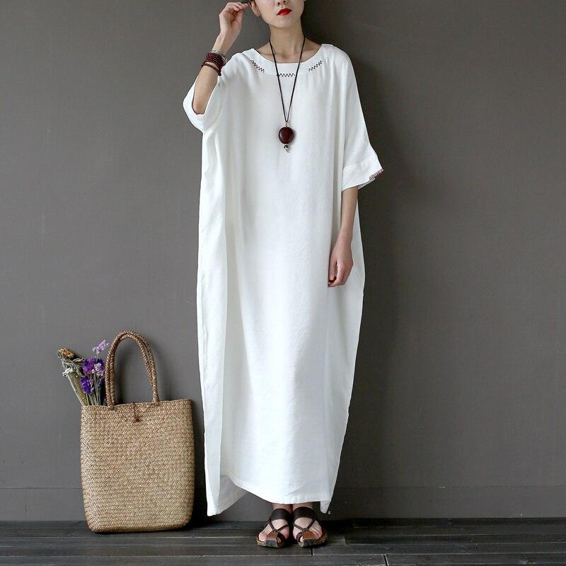 Sommer Casual Kleider Leinenstickerei Frauen Solide Weißes Kleid - Damenbekleidung - Foto 2