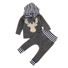 2016 Fashion Newborn Baby Boys Girls Warm Long Sleeve Deer Striped Hooded T shirt Long Patchwork