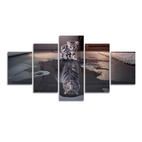 Modern Canvas Art 5 piece Cat and Tiger Posters and HD Prints Home Decorations Painting Wall Pictures for Living Room Framed