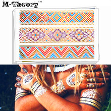 M-theory Metallic 3D Gold Choker Makeup Temporary Tattoos Henna Body Art Lizard Print Flash Tattoos Sticker Swimsuit Makeup Tool