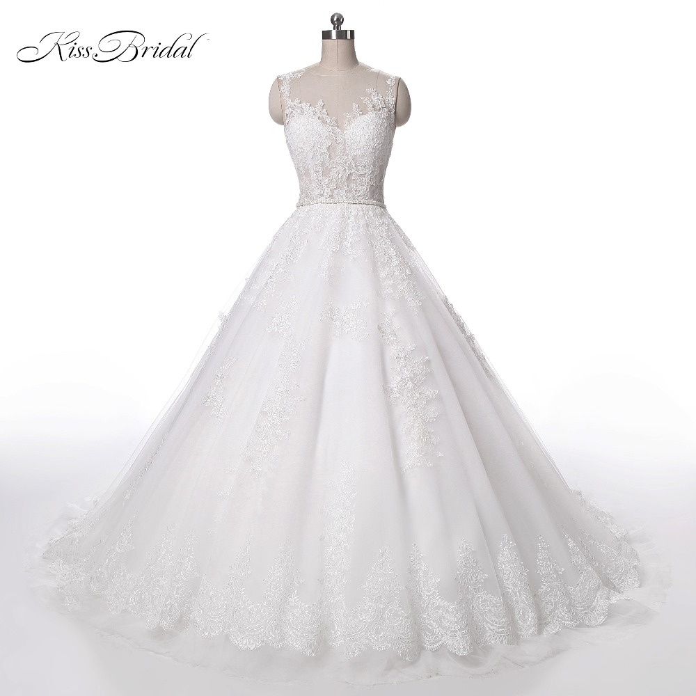 New Design Ball Gown Wedding Dresses 2017 Sheer Neck Sleeveless Sweep Train Lace Tulle Bridal Gowns 2017 Custom Made
