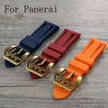 NEW 24mm Orange Blue Red Waterproof Silicone Rubber Strap,Watchband For PAM With Special Buckle And Logo